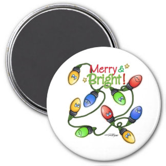 Merry & Bright Christmas 3 Inch Round Magnet