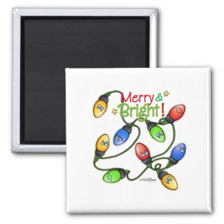Merry & Bright Christmas 2 Inch Square Magnet