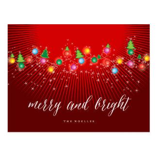 Merry & Bright Christmas Ornaments Lights Postcard