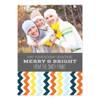 Merry Bright Christmas Photo Card Grey Chevron