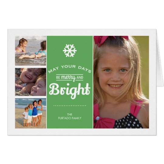 Merry Bright Christmas Photo Collage Holiday Green Card