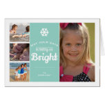 Merry Bright Christmas Photo Collage Mint Holiday Greeting Card