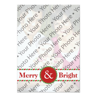Merry & Bright Christmas Photo Greeting Card Custom Announcement