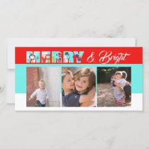 Merry & Bright Christmas Photo Holiday Card