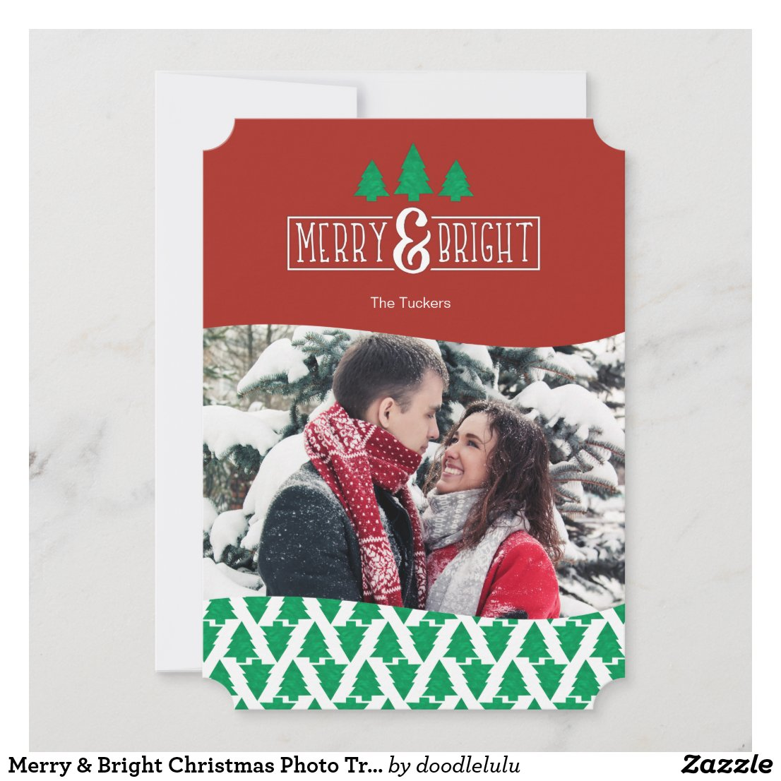 Merry & Bright Christmas Photo Trees Holiday Card