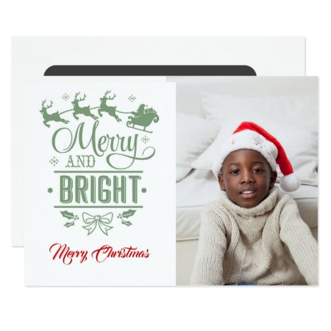Merry & Bright /Christmas Quote/2-Sided / White Card