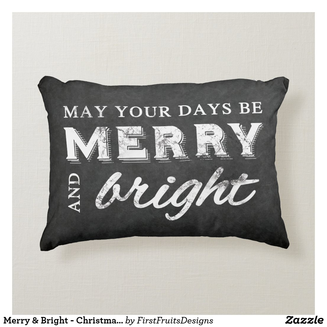 Merry & Bright - Christmas Rustic Chalkboard Accent Pillow
