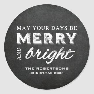 Merry & Bright - Christmas Rustic Chalkboard Classic Round Sticker