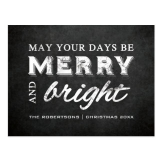 Merry & Bright - Christmas Rustic Chalkboard Postcard