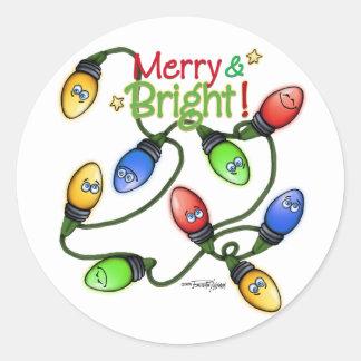 Merry & Bright Christmas Classic Round Sticker