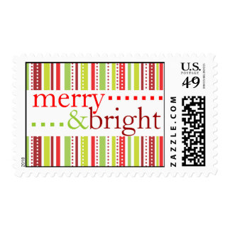 Merry & Bright Christmas Stripes Holiday Postage Stamps