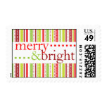 Merry & Bright Christmas Stripes Holiday Postage Stamp