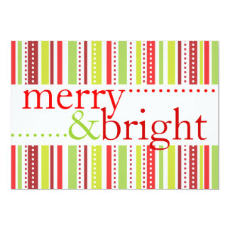 Merry & Bright Christmas Stripes Party Invitation