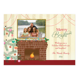 Merry & Bright Christmas tree fireplace photo card