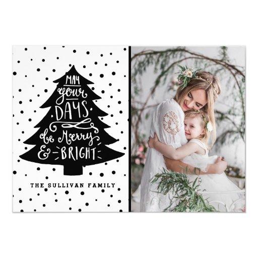 Merry & Bright Christmas Tree Holiday Photo Card