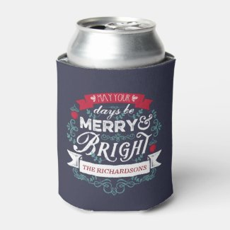 Merry & Bright Christmas Typography Custom Banner Can Cooler