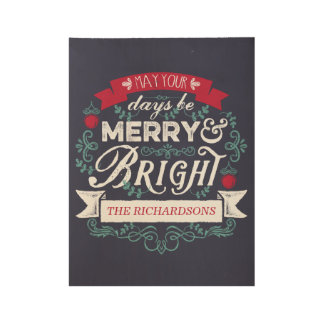 Merry & Bright Christmas Typography Custom Banner Wood Poster