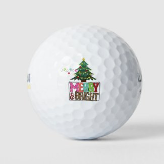 Merry Bright Christmas with tree and light  Golf Balls