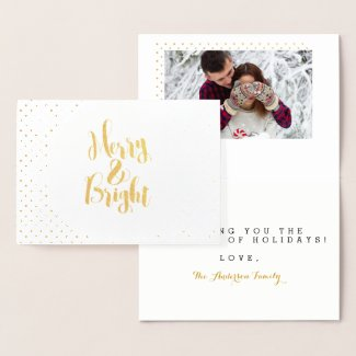 Merry & Bright Classic Holidays Typography Design Foil Card