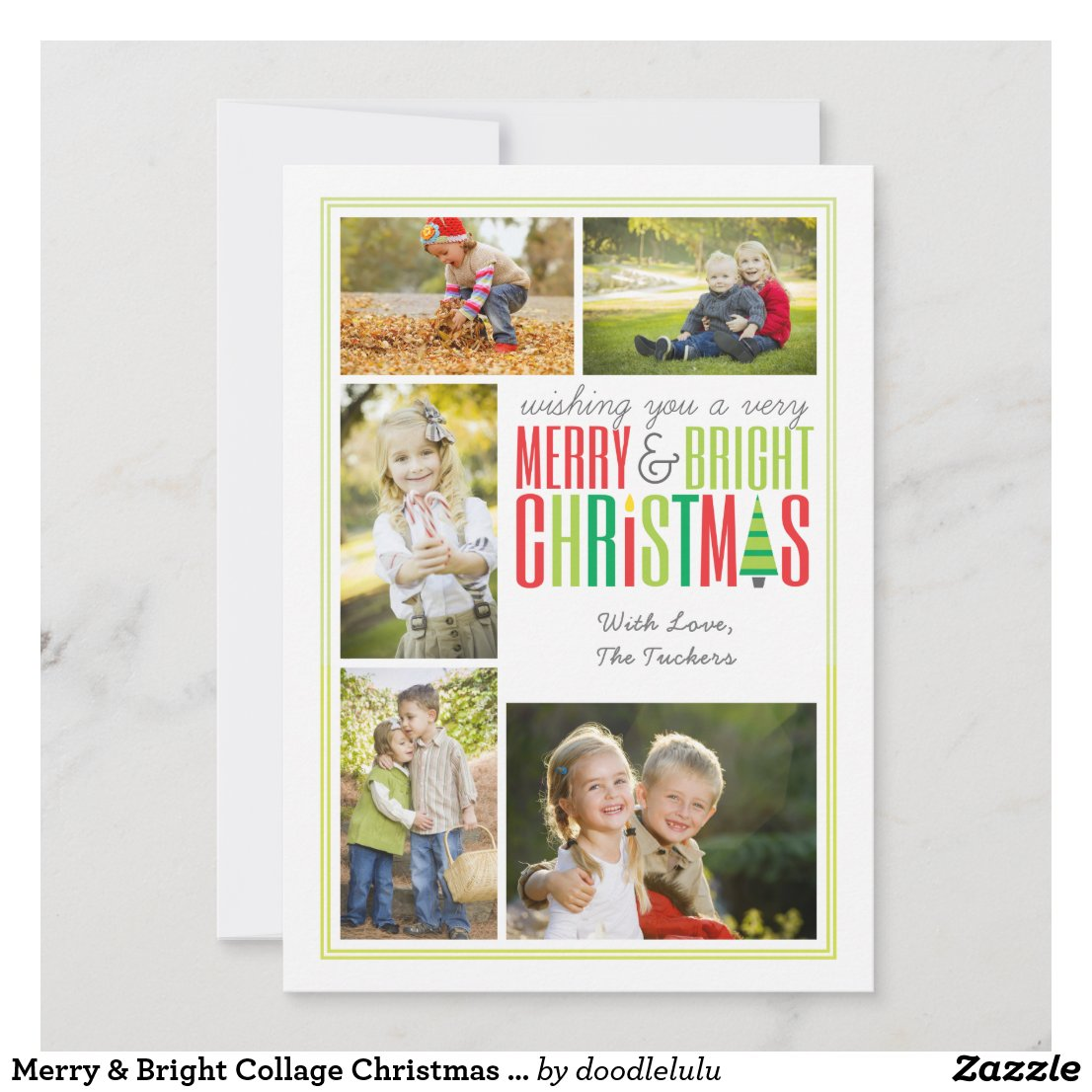 Merry & Bright Collage Christmas Photo Card