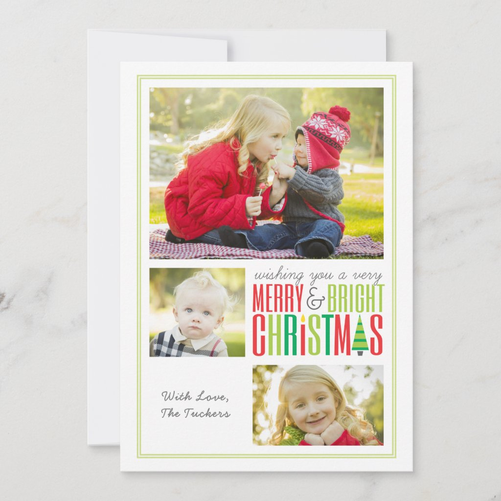 Merry & Bright Collage Photo Christmas Holiday Card