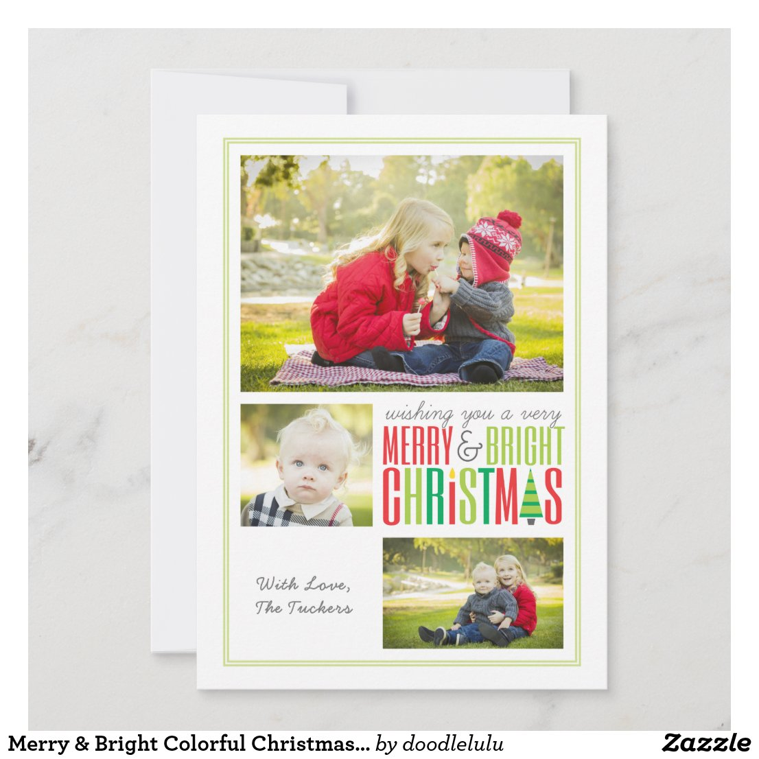 Merry & Bright Colorful Christmas Card - 3 Photo
