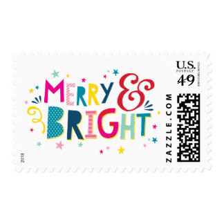MERRY & BRIGHT colorful festive christmas holiday Postage
