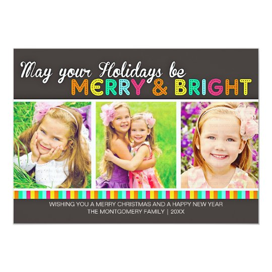 Merry & Bright Colorful Modern Holiday Photo Card