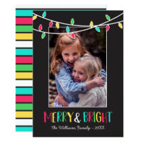 Merry & Bright - Colorful String Lights - Photo Card