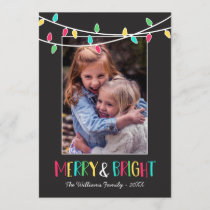 Merry & Bright - Colorful String Lights - Photo Holiday Card