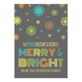 Merry Bright Custom Christmas Card Colorful Snow