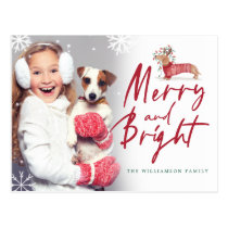 Merry & Bright | Dachshund Christmas Sweater Photo Postcard