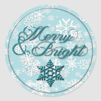 Merry & Bright • Faux Glass Look • Teal Snowflake Classic Round Sticker