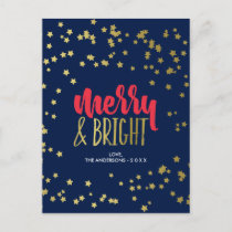 Merry & Bright | Faux Gold Stars Holiday Postcard