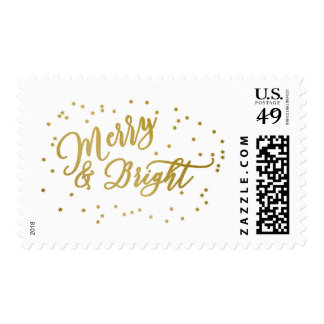 Merry & Bright | Faux Gold Stars & Script Postage