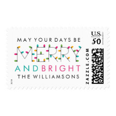 Merry & Bright Fun Modern Christmas Holiday Postage at Zazzle