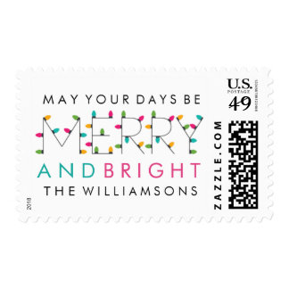 Merry & Bright Fun Modern Christmas Holiday Stamp