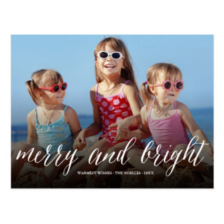 Merry & Bright Fun Script Holiday Photo Postcard