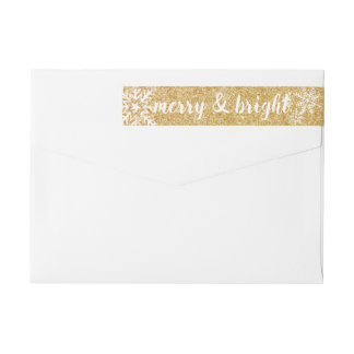 Merry & Bright Gold Glitter Christmas Snowflake Wrap Around Label