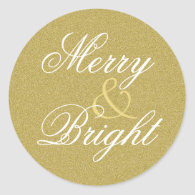 Merry & Bright Gold Glitter Holiday Classic Round Sticker