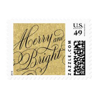 Merry & Bright Gold Script Postage Stamp