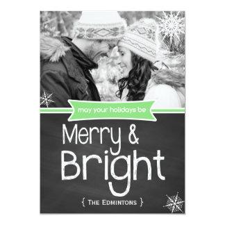 Merry Bright Green Chalkboard Holiday Flat Card