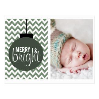 MERRY & BRIGHT GREEN CHEVRON HOLIDAY CARD POSTCARD