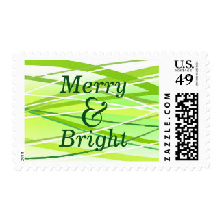 Merry & Bright Green Lines - Postage Stamp