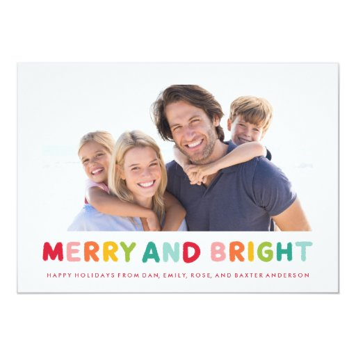 Merry & Bright Hand Lettered Holiday Photo Cards