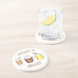 Merry & Bright Holiday Eggnog Cocoa Buttered Rum Coaster