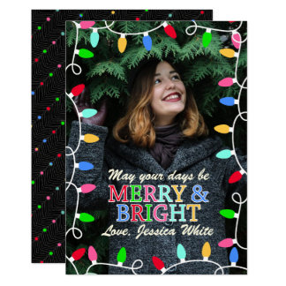 Merry & Bright Holiday Photo Christmas Card