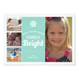 Merry Bright Holiday Photo Christmas Collage Mint 5x7 Paper Invitation Card