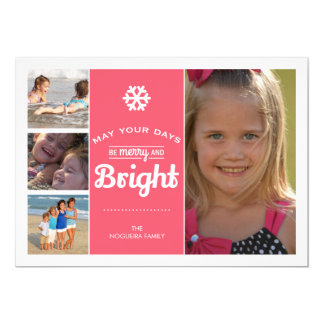 Merry Bright Holiday Photo Christmas Collage Pink 5x7 Paper Invitation Card