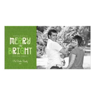 Merry & Bright Holiday Photo Greeting Customized Photo Card